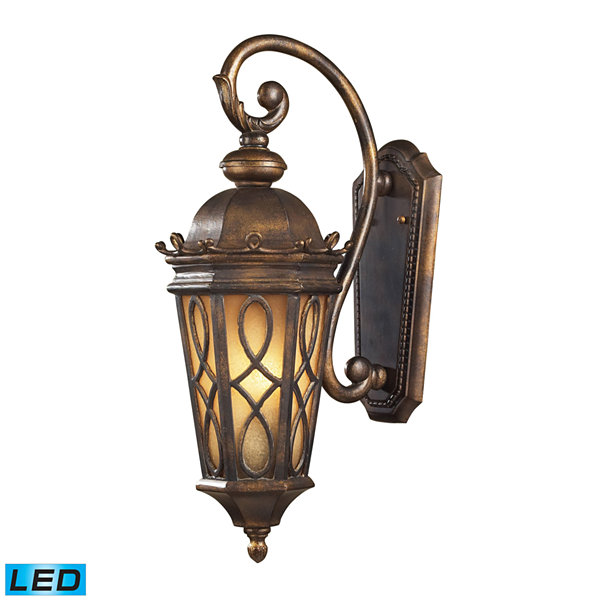 Burlington Junction 2-Light Outdoor LED Wall Sconce In Hazlenut Bronze And Amber Scavo Glass