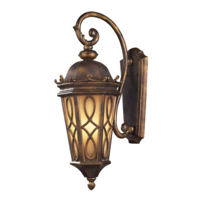 Burlington Junction 3-Light Outdoor Wall Sconce In Hazlenut Bronze And Amber Scavo Glass