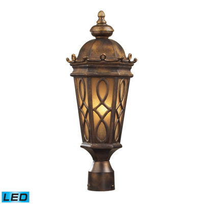 Burlington Junction 2-Light Outdoor LED Post LightIn Hazlenut Bronze And Amber Scavo Glass