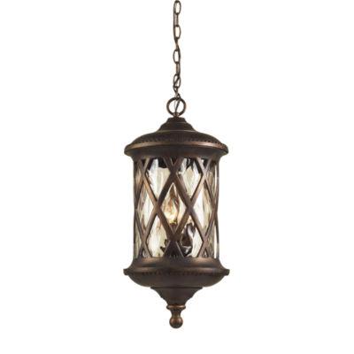 Barrington Gate 3-Light Outdoor Pendant In Hazlenut Bronze And Designer Water Glass