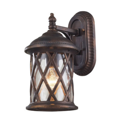 Barrington Gate 1-Light Outdoor Sconce In Hazlenut Bronze And Designer Water Glass