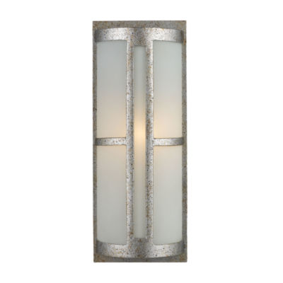 Trevot 1-Light Outdoor Wall Sconce In Sunset Silver And Frosted Glass