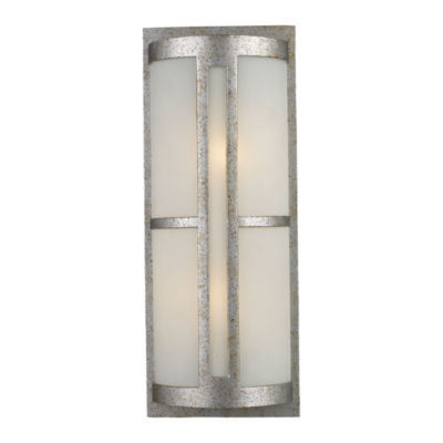 Trevot 2-Light Outdoor Wall Sconce In Sunset Silver And Frosted Glass