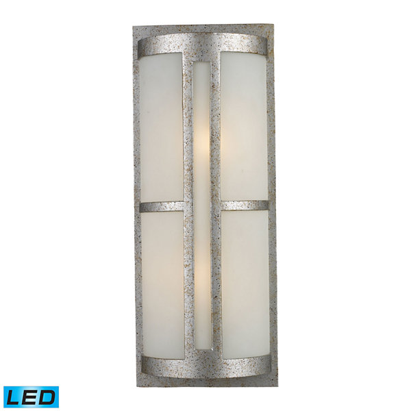 Trevot 2-Light Outdoor LED Wall Sconce In Sunset Silver And Frosted Glass