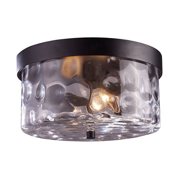Grand Aisle 2-Light Outdoor Flush Mount In Weathered Charcoal
