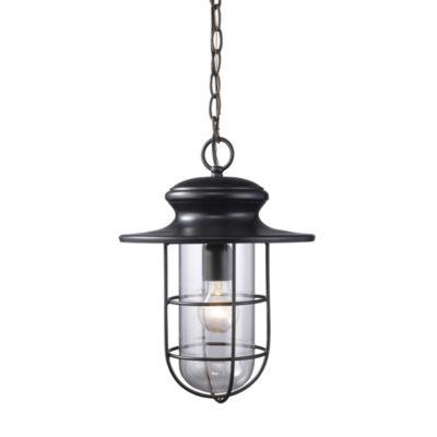 Portside 1-Light Outdoor Pendant In Matte Black