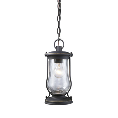 Farmstead 1-Light Outdoor Pendant In Matte Black