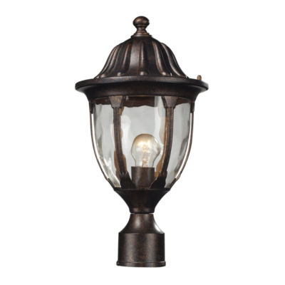 Glendale 1-Light Outdoor Post Mount In Regal Bronze And Water Glass