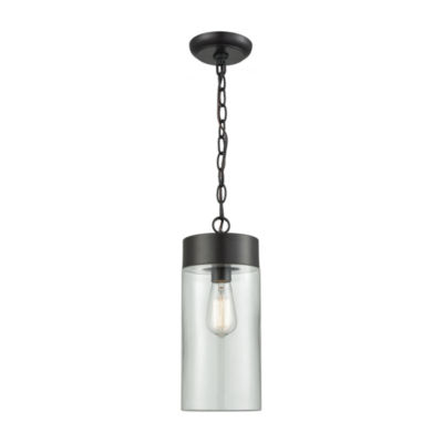 Ambler 1-Light Outdoor Pendant In Oil Rubbed Bronze With Clear Glass