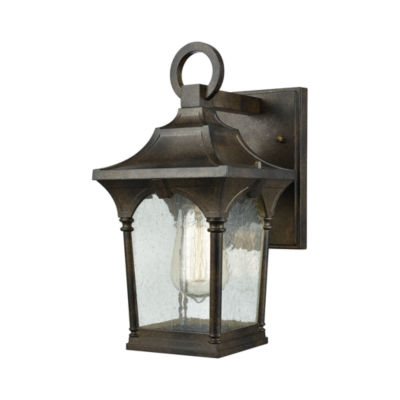 Loringdale 1-Light Outdoor Wall Sconce In Hazelnut Bronze With Clear Seedy Glass