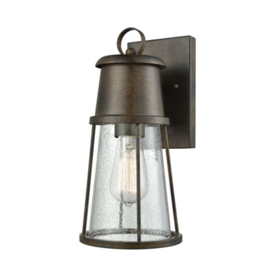 Crowley 1-Light Outdoor Wall Sconce In Hazelnut Bronze With Clear Seedy Glass
