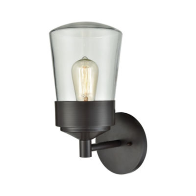Mullen Gate 1-Light Outdoor Wall Sconce In Oil Rubbed Bronze With Clear Glass