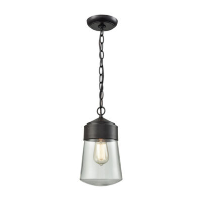 Mullen Gate 1-Light Outdoor Pendant In Oil Rubbed Bronze With Clear Glass
