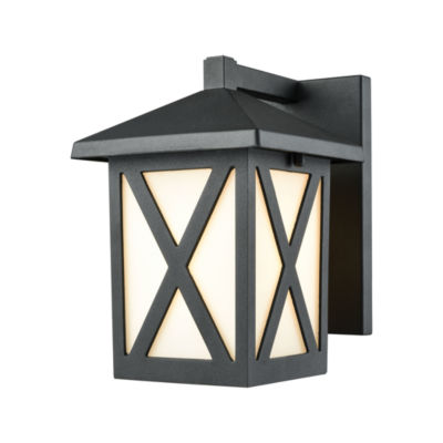 Lawton 1-Light Outdoor Wall Sconce In Matte Black With White Glass