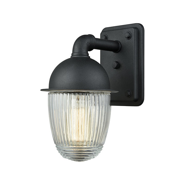 Channing 1-Light Outdoor Wall Sconce In Matte Black With Clear Ribbed Glass