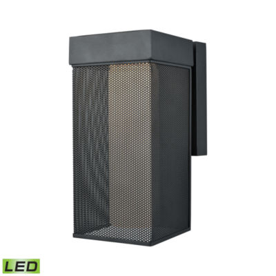 Estacada Dimmable LED Outdoor Wall Sconce In MatteBlack With Opal White Glass