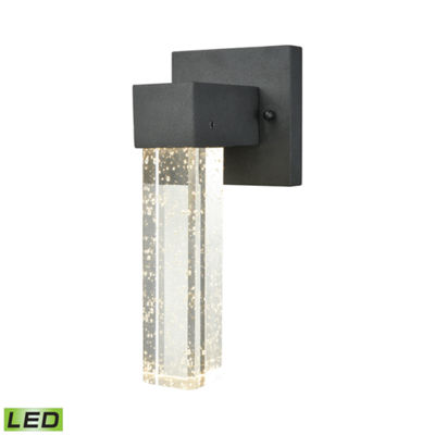 Emode Dimmable LED Outdoor Wall Sconce In Matte Black With Clear Bubble Crystal