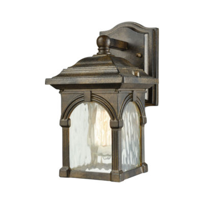 Stradelli 1-Light Outdoor Wall Sconce In Hazelnut Bronze With Clear Water Glass