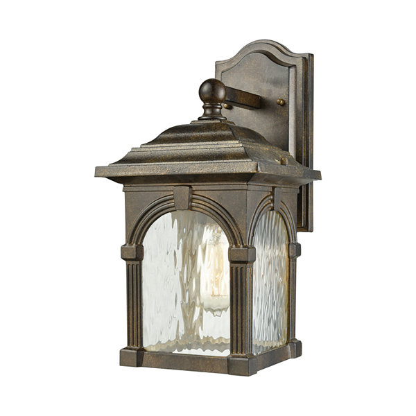 Stradelli 1-Light Outdoor Wall Sconce In HazelnutBronze With Clear Water Glass