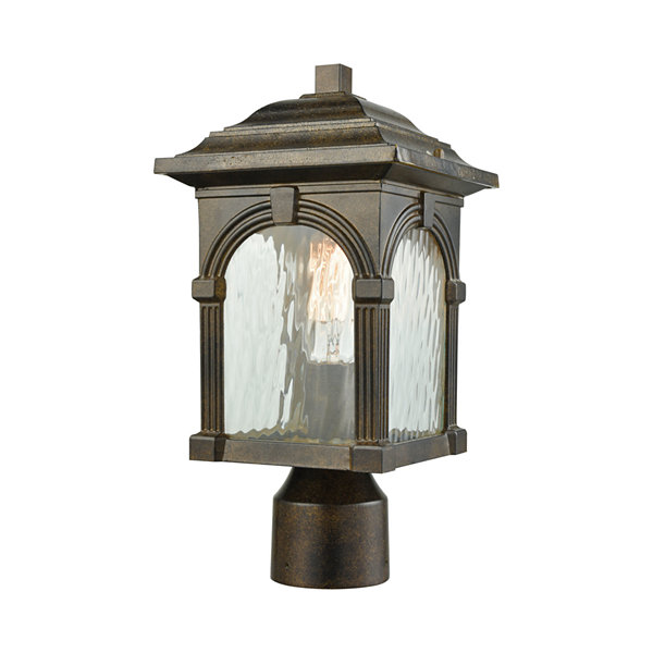 Stradelli 1-Light Outdoor Post Mount In Hazelnut Bronze With Clear Water Glass