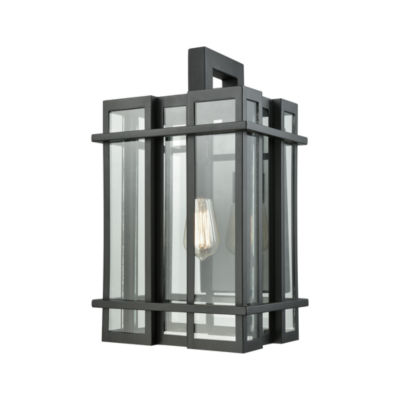 Glass Tower 1-Light Outdoor Wall Sconce In Matte Black With Clear Glass