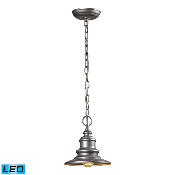 Marina 1-Light Outdoor LED Pendant In Matte Silver