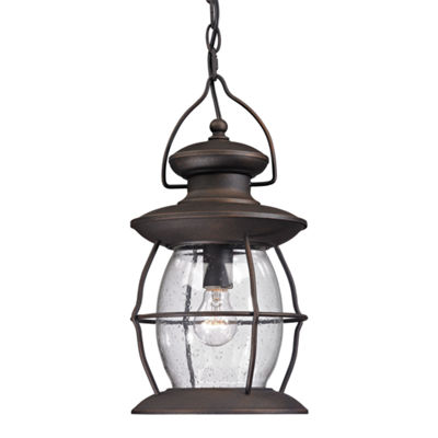 Village Lantern 1-Light Outdoor Pendant In Weathered Charcoal