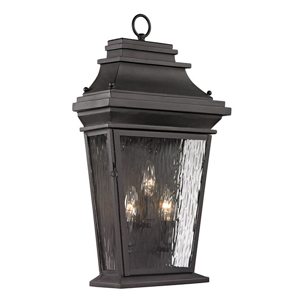 Forged Provincial 3-Light Outdoor Sconce In Charcoal
