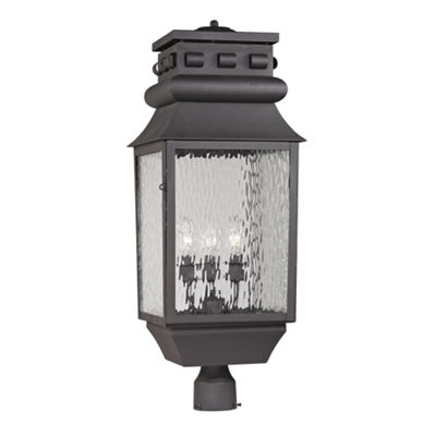 Forged Lancaster 3-Light Outdoor Post Lamp In Charcoal