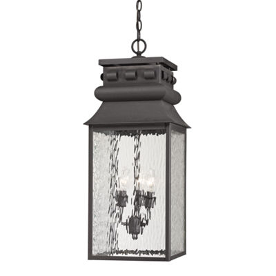Forged Lancaster 3-Light Outdoor Pendant In Charcoal