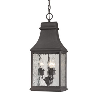 Forged Jefferson 3-Light Outdoor Pendant In Charcoal