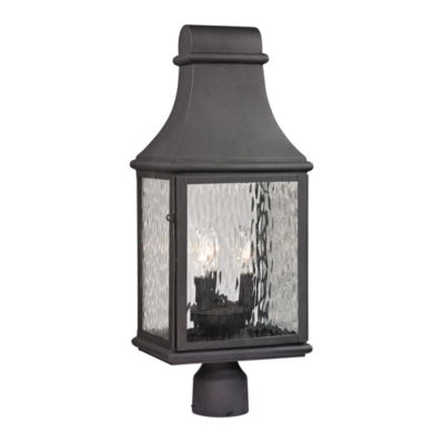 Forged Jefferson 3-Light Outdoor Post Lamp In Charcoal