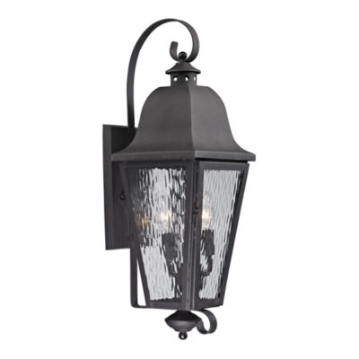 Forged Brookridge 3-Light Outdoor Sconce In Charcoal