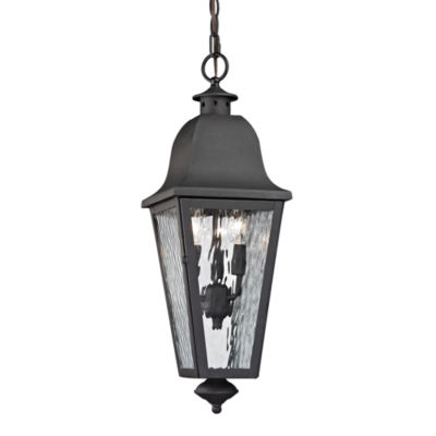 Forged Brookridge 3-Light Outdoor Pendant In Charcoal