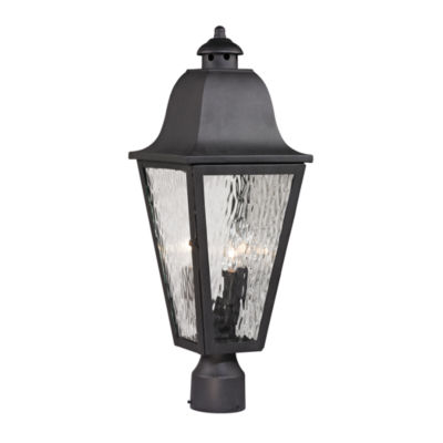 Forged Brookridge 3-Light Outdoor Post Lamp In Charcoal