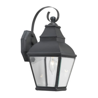 Bristol 1-Light Outdoor Wall Lantern In Charcoal And Beveled Glass