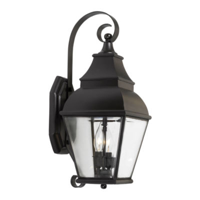 Bristol 2-Light Outdoor Wall Lantern In Charcoal And Beveled Glass