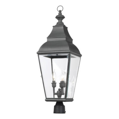 Bristol 3-Light Outdoor Post Lantern In Charcoal And Beveled Glass