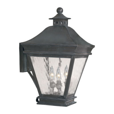 Landings Outdoor Wall Lantern In Charcoal And Water Glass