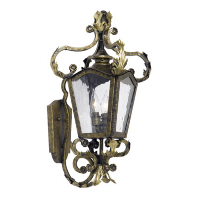 Acadiana Outdoor Wall Lantern In Castle Bronze AndWater Glass