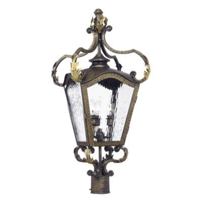 Acadiana Outdoor Post Lantern In Castle Bronze AndWater Glass