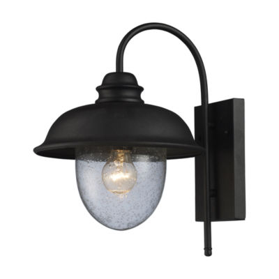 Streetside Cafe 1-Light Outdoor Wall Sconce In Matte Black