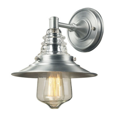 Insulator Glass 1-Light Outdoor Sconce In Brushed Aluminum