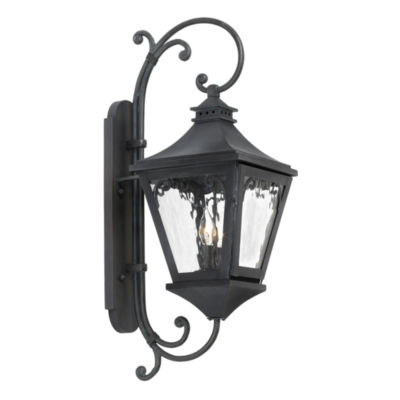 Manor Outdoor Wall Lantern In Charcoal And Water Glass