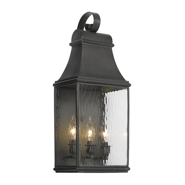 Jefferson Outdoor Wall Bracket In Charcoal And Water Glass