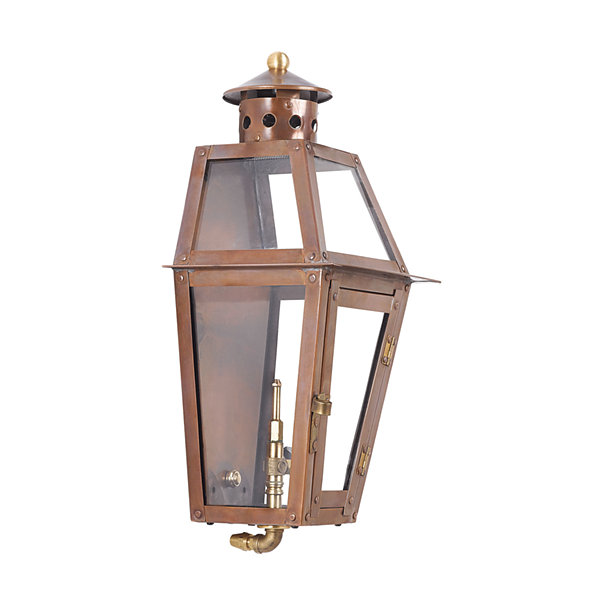Grande Isle Outdoor Gas Pocket Lantern In Aged Copper