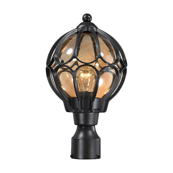 Madagascar 1-Light Outdoor Post Lantern In Matte Black