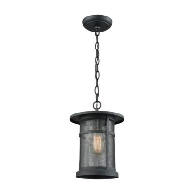 Aspen Lodge 1-Light Outdoor Pendant In Textured Matte Black