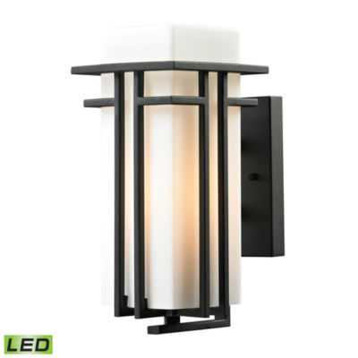 Croftwell 1-Light Outdoor LED Sconce In Textured Matte Black