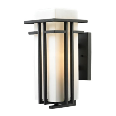 Croftwell 1-Light Outdoor Sconce In Textured MatteBlack